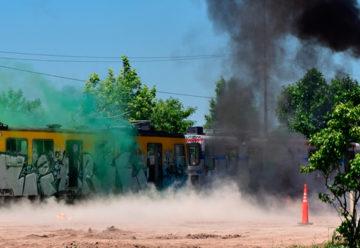 Simulacro de siniestro ferroviario en el Instituto de Seguridad