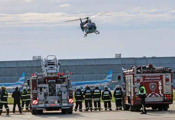 Simulacro de emergencia en el Aeroparque metropolitano