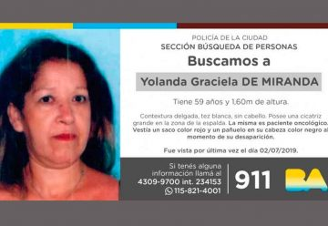 Búsqueda de persona - Yolanda Graciela de Miranda
