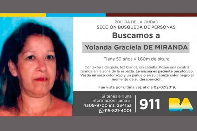 Búsqueda de persona – Yolanda Graciela de Miranda