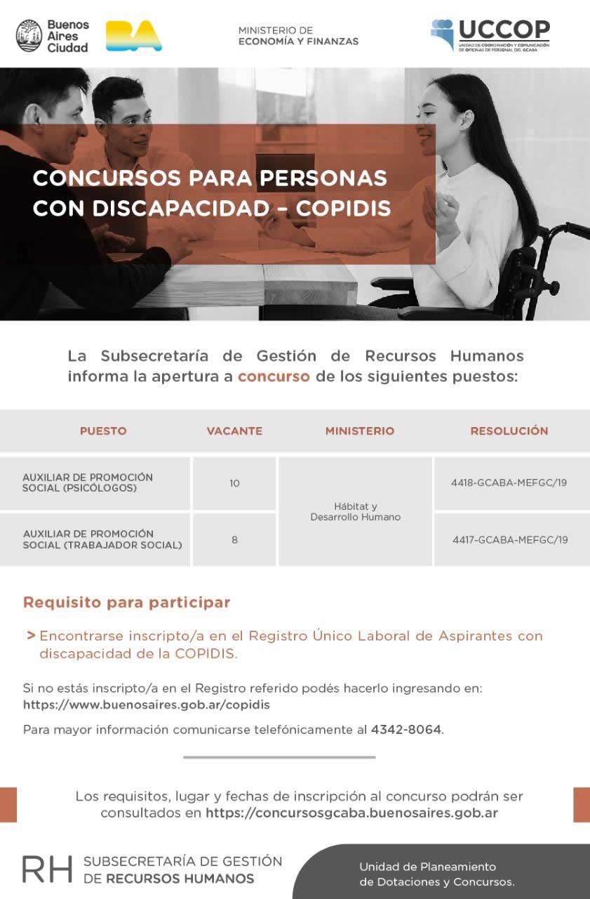 COPIDIS: Concursos para personas con discapacidad
