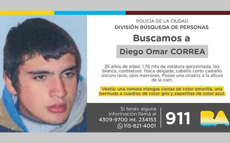 Búsqueda de persona – Diego Omar Correa