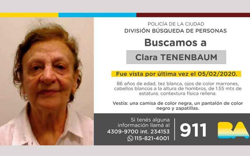 Búsqueda de persona – Clara Tenenbaum