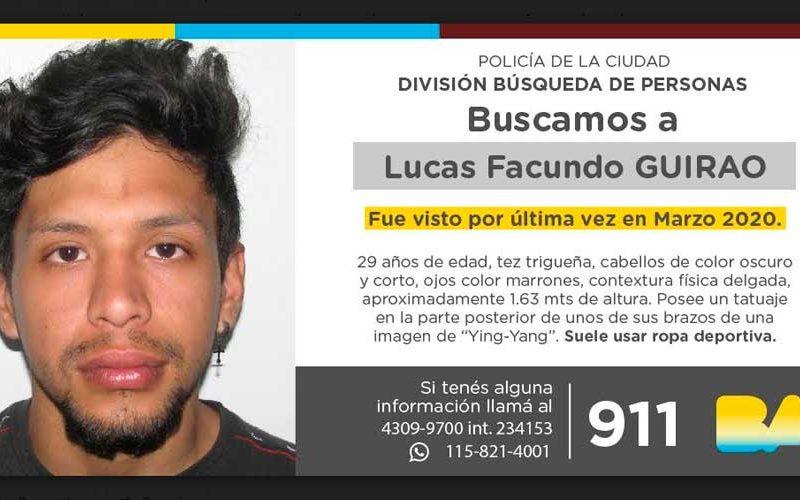 Búsqueda de persona – Lucas Facundo Guirao