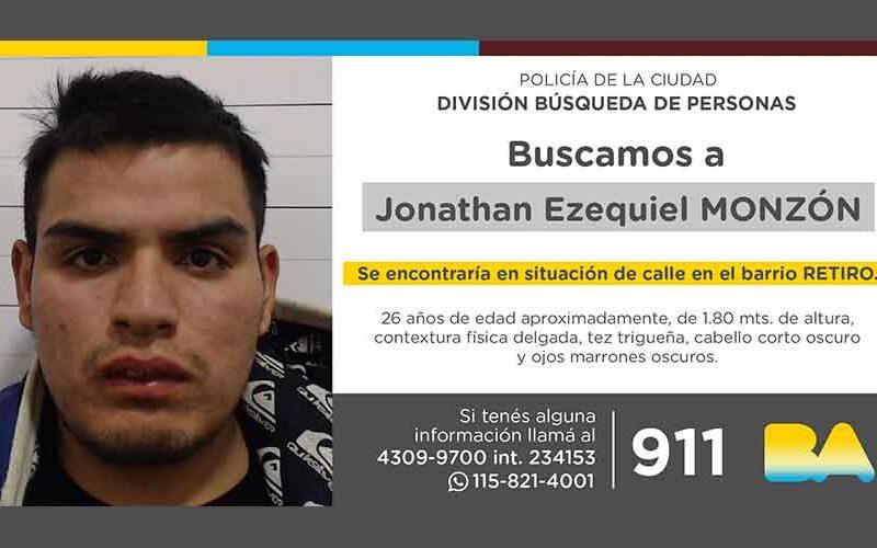 Búsqueda de persona – Jonathan Ezequiel Monzón